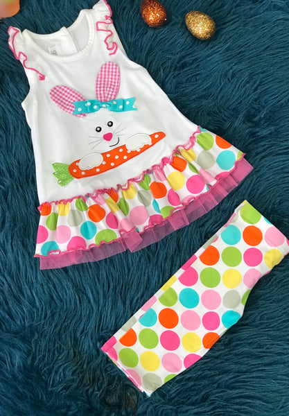 Bonnie Easter Polkadot Bunny Face Capri Set - JEN'S KIDS BOUTIQUE