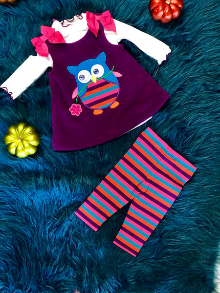 Fall Purple Owl Dress Set CL - JEN'S KIDS BOUTIQUE