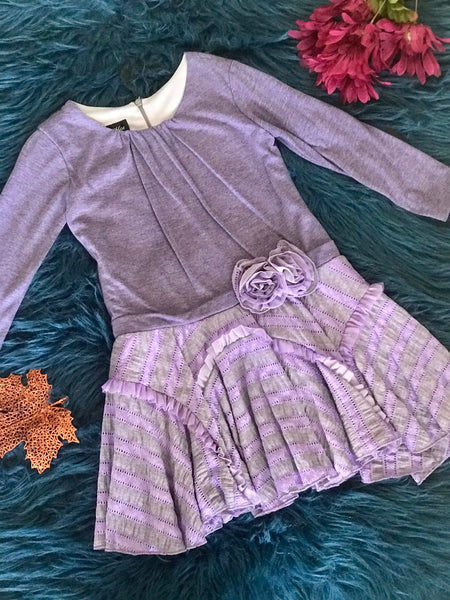 Isobella & Chloe Lavender Fall Dress - JEN'S KIDS BOUTIQUE