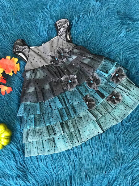 Isobella & Chloe Blue & Black Ruffle Dress - JEN'S KIDS BOUTIQUE