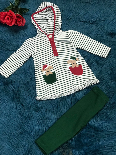 Le Top Green & White Stripped Puppy In Pockets Legging Set - JEN'S KIDS BOUTIQUE