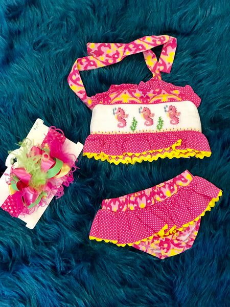 True Infant Sea Horse Summer Hot Pink/Yellow Polka Dot Two Piece Sunsuit - JEN'S KIDS BOUTIQUE