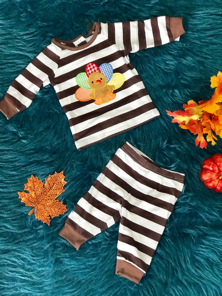New Fall Thanksgiving Three Sisters Boys Turkey Applique Set - JEN'S KIDS BOUTIQUE