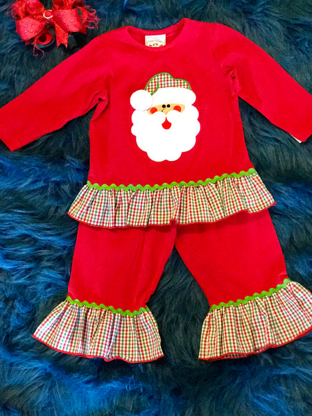 Three Sisters Santa Girls Applique Ruffle Pantset - JEN'S KIDS BOUTIQUE