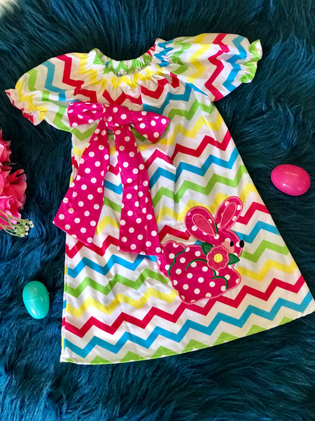 Princess Colorful Easter Chevron Bunny Dress - JEN'S KIDS BOUTIQUE