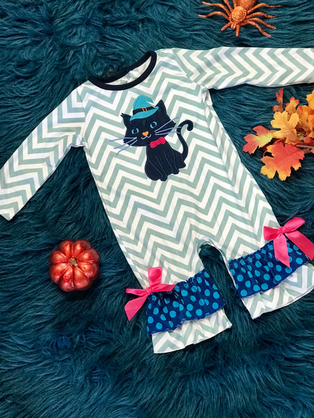 Fall Halloween Chevron Witch Cat Romper - JEN'S KIDS BOUTIQUE