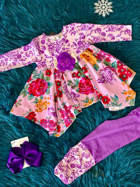 2018 Fall Sassy Me Coming Up Roses Legging Set - JEN'S KIDS BOUTIQUE