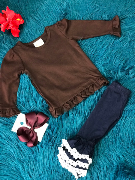 New Solid Brown Long Sleeve Icing Ruffle Shirt - JEN'S KIDS BOUTIQUE