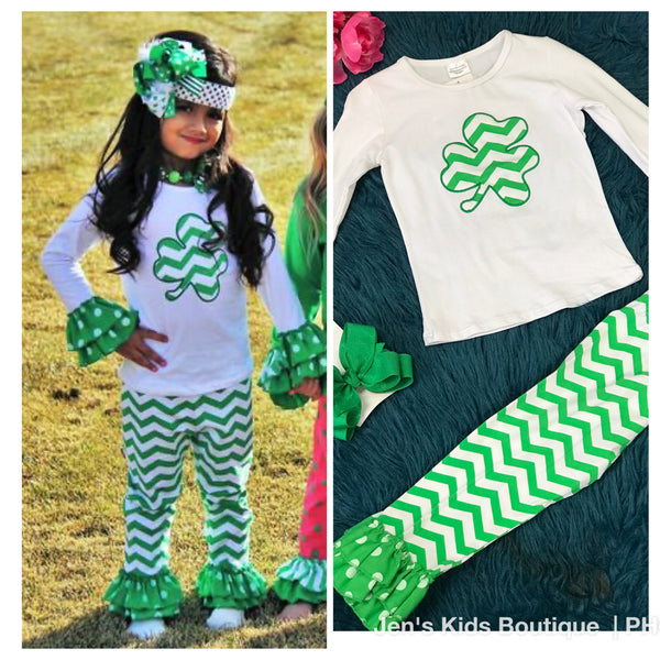 Saint Patrick Day White/Green Chevron Pant Set P - JEN'S KIDS BOUTIQUE
