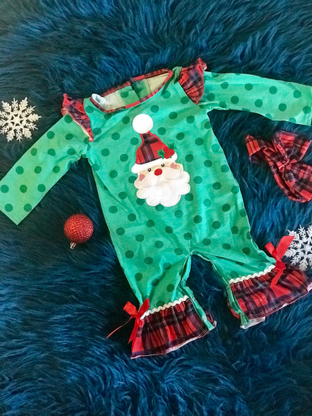 2018 Christmas Green Polka Dot & Plaid Santa Girls Romper
