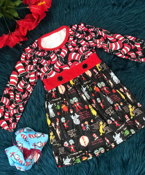 New Fall Dr Seuss & The Red & Black Gang Ruffle Dress - JEN'S KIDS BOUTIQUE