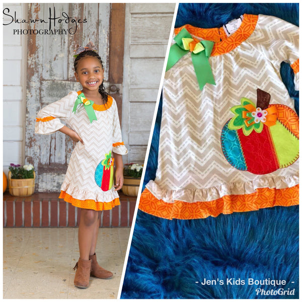 8d06c3a65c1b Rare Editions Counting Daisy Colorful Thanksgiving Pumpkin Dress - JEN S  KIDS BOUTIQUE