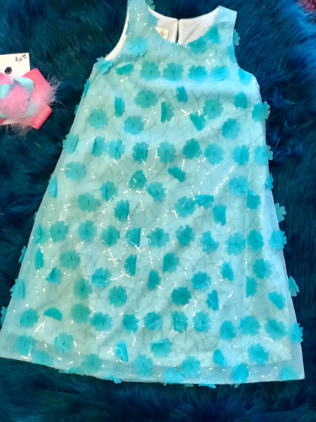 Isobella & Chloe Spring Aqua Beautiful Floral Dress - JEN'S KIDS BOUTIQUE
