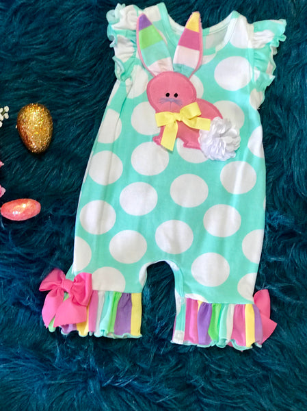 Molly & Millie Polka Dot Easter Some Bunny Loves You Romper ECL - JEN'S KIDS BOUTIQUE