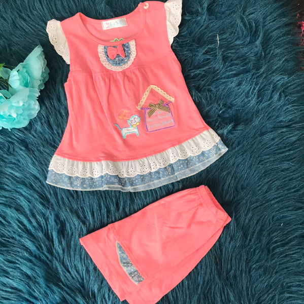 Pink Cat w/ Lace Short Set CLS