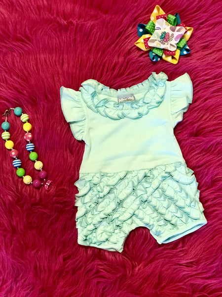 2018 Spring Three Sisters Mint Rouched Infant Girls Romper - JEN'S KIDS BOUTIQUE