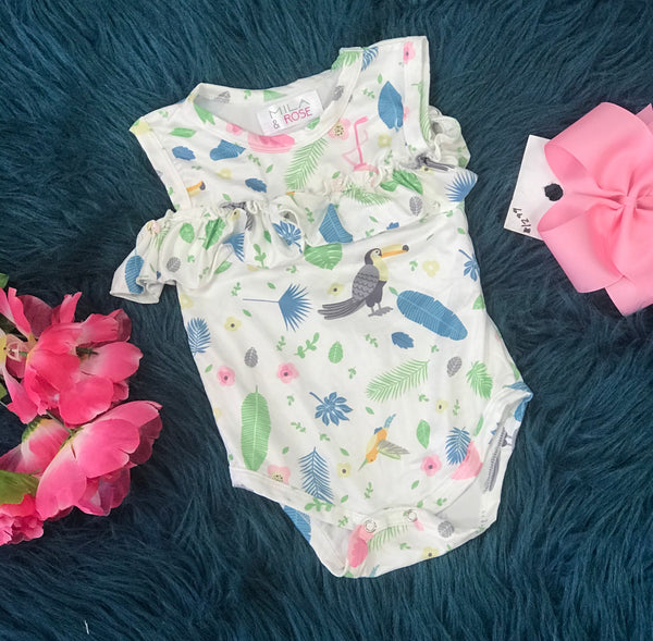 Spring Tropical Flamingo Cold Shoulder Ruffle Romper By Mila Rose - JEN'S KIDS BOUTIQUE