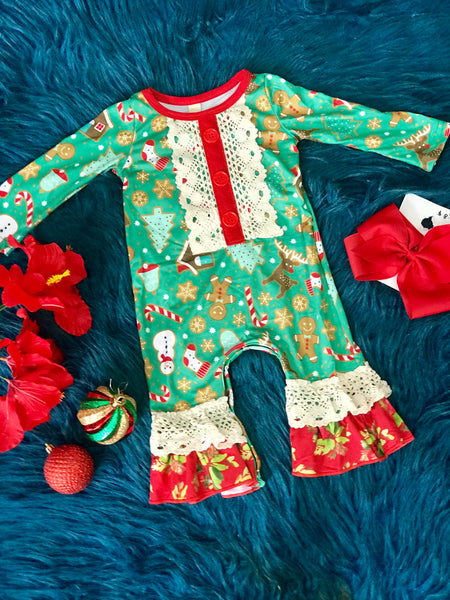 New Christmas Infant Gingerbread Ruffle Cotton Romper C - JEN'S KIDS BOUTIQUE