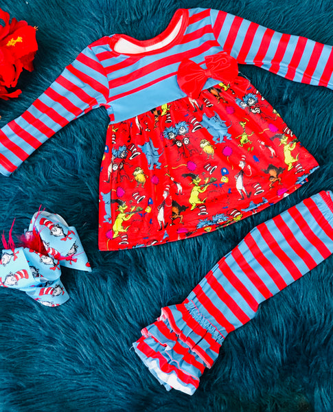 Charater Fun Dr Seuss And Friends Red & Blue Ruffle Pant Set - JEN'S KIDS BOUTIQUE
