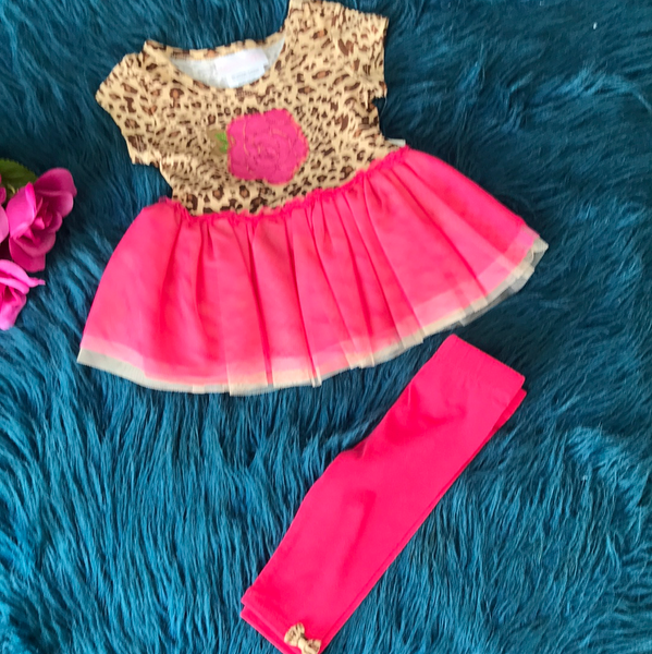 Bonnie Jean Cheetah & Hot Pink Tutu Legging Set CLS - JEN'S KIDS BOUTIQUE