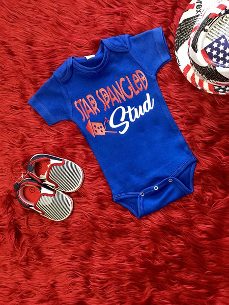 Summer 4th Of July Star Spangled Stud Onesie - JEN'S KIDS BOUTIQUE