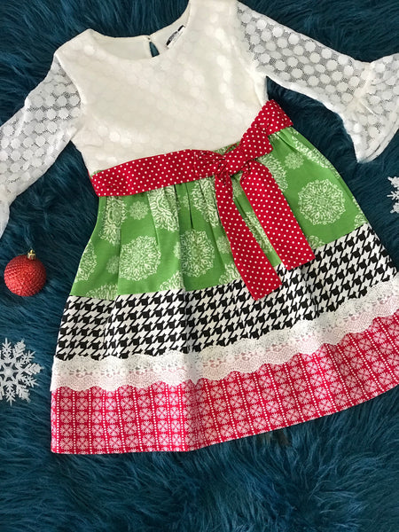 Counting Daisies By Rare Editions Green/Red Christmas Dress - JEN'S KIDS BOUTIQUE