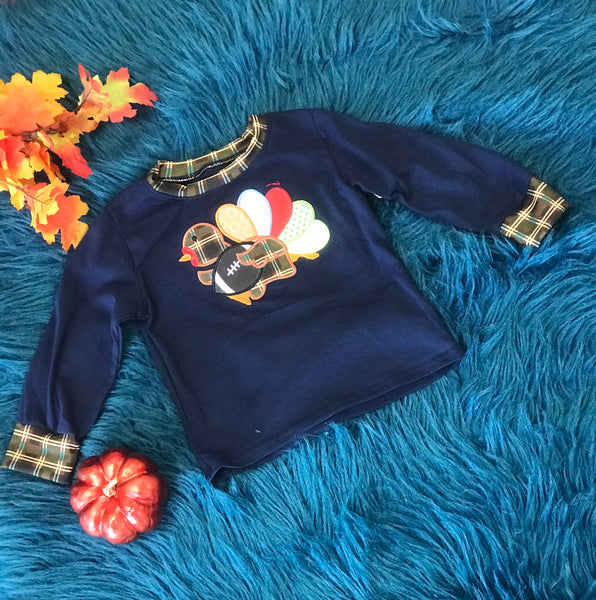 Fall Thanksgiving Navy & Plaid Turkey Foot Ball Boys Long Sleeve Shirt - JEN'S KIDS BOUTIQUE