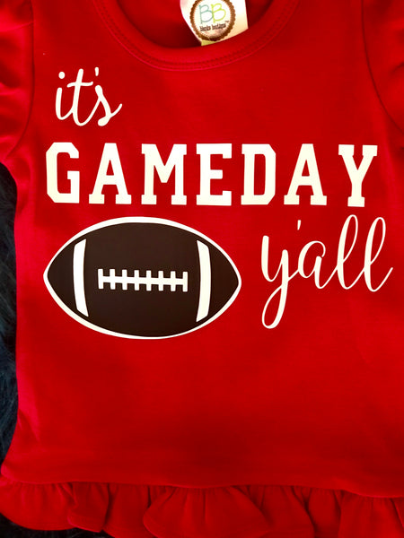 2018 Fall It's Game Day Ya'll Girls Ruffle Red Shirt - JEN'S KIDS BOUTIQUE