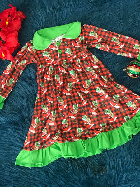 New Christmas Grinch & Cindy Lou Plaid Night Gown - JEN'S KIDS BOUTIQUE