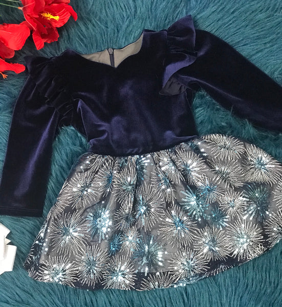 New Fall & Holiday Isobella & Chloe Blue Velvet Sparkle Snow Flake Dress C - JEN'S KIDS BOUTIQUE