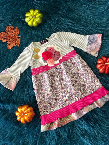 2018 Fall ZaZa Couture Gray & Pink Mixed Flower Dress - JEN'S KIDS BOUTIQUE
