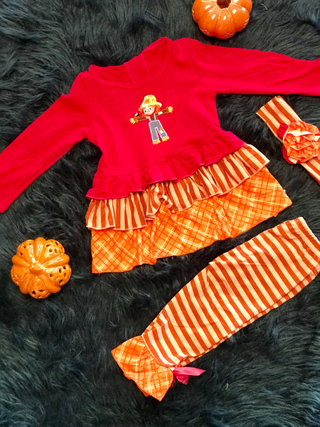 2018 Halloween Colorful Scarecrow Ruffle Pant Set - JEN'S KIDS BOUTIQUE