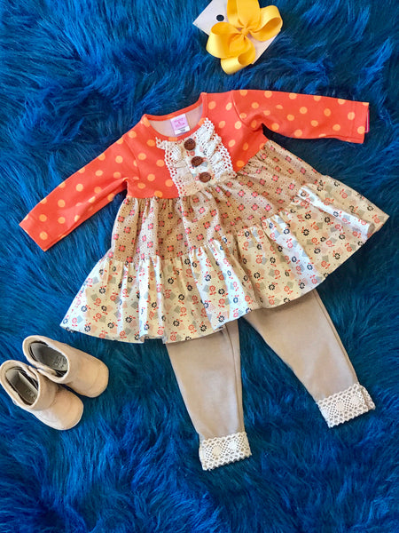 Molly & Millie By Peaches N Cream Fall Orange & Cream Fun Legging Set - JEN'S KIDS BOUTIQUE