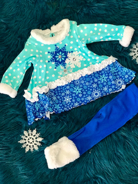 Peaches N Cream Christmas Holiday Blue Snowflake Pant Set - JEN'S KIDS BOUTIQUE