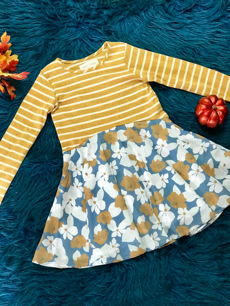 Mabel & Honey Mustard & White Stripped Floral Dress - JEN'S KIDS BOUTIQUE