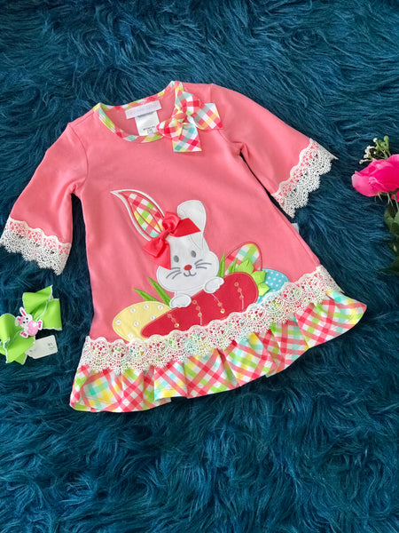 Spring Easter Bunny With Eggs Easter Dress - JEN'S KIDS BOUTIQUE