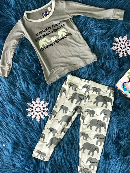 Fall Kickee Pants Long Sleeve Aloe Elephants Pajama Set F - JEN'S KIDS BOUTIQUE