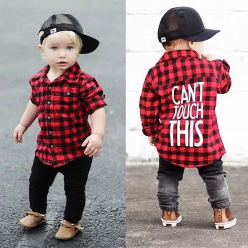 Fall Boys Cant Touch This Red Plaid Shirt CH - JEN'S KIDS BOUTIQUE
