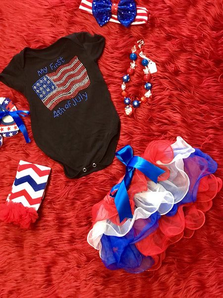 2018 Summer 4th Of July Red White & Blue Petal Tutu Pettiskirt W/Blue Bow - JEN'S KIDS BOUTIQUE