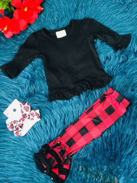 New Solid Black Long Sleeve Icing Ruffle Shirt - JEN'S KIDS BOUTIQUE