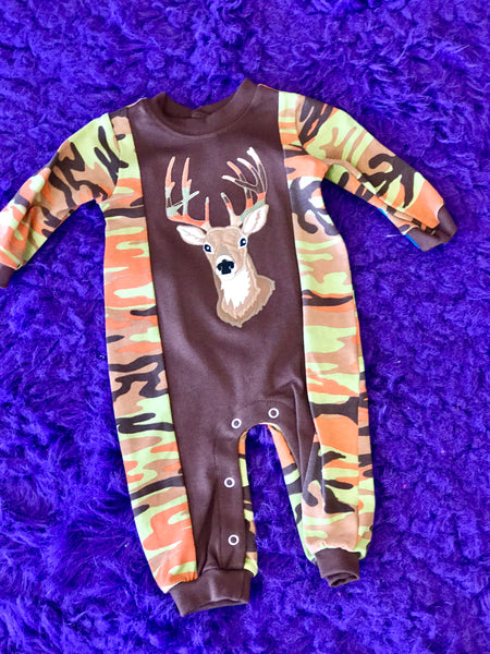 Fun Camo & Brown Deer Infant Boys Romper - JEN'S KIDS BOUTIQUE