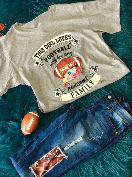 2018 Fall Gray This Mom Loves Football Shirt - JEN'S KIDS BOUTIQUE