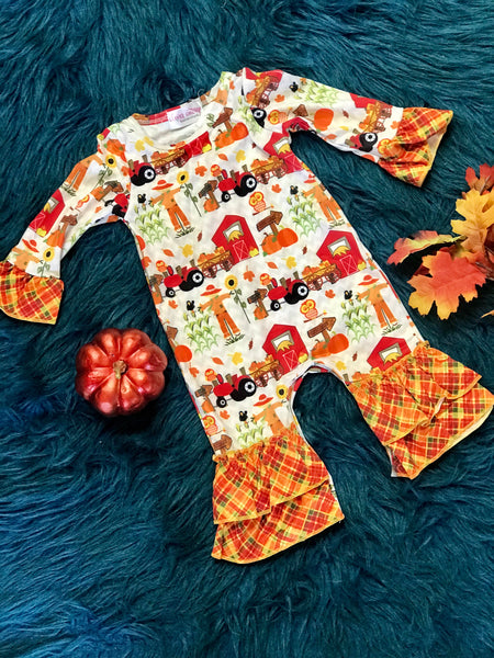 New Fall Farm Long Sleeve Romper - JEN'S KIDS BOUTIQUE