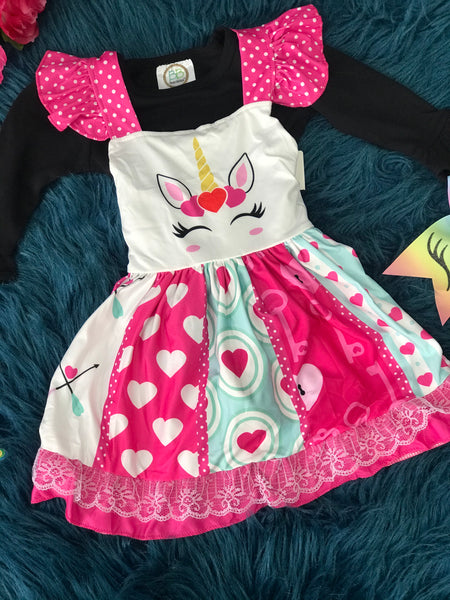 Spring Fling Sleeveless Cotton Unicorn Face Love Dress - JEN'S KIDS BOUTIQUE