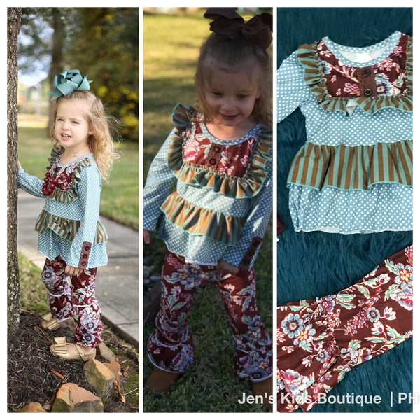New Fall Girls Multi Floral Ruffle Pants Set C - JEN'S KIDS BOUTIQUE