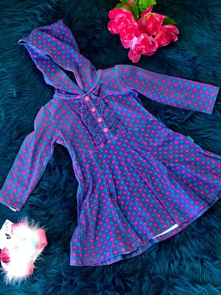 Fall La Top Multi Purple Hooded Dress - JEN'S KIDS BOUTIQUE