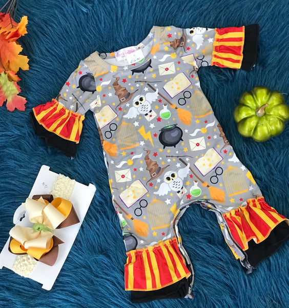 Clover Cottage Harry Potter Gryffindor Ruffle Romper CL - JEN'S KIDS BOUTIQUE