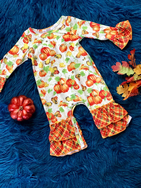 New Fall Plaid Pumpkin Multi Ruffle Romper - JEN'S KIDS BOUTIQUE