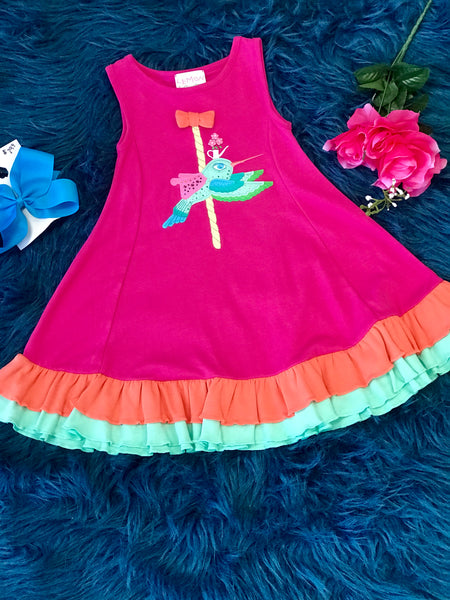 2018 Spring Lemon Loves Lime Humming Bird Ride Dress - JEN'S KIDS BOUTIQUE