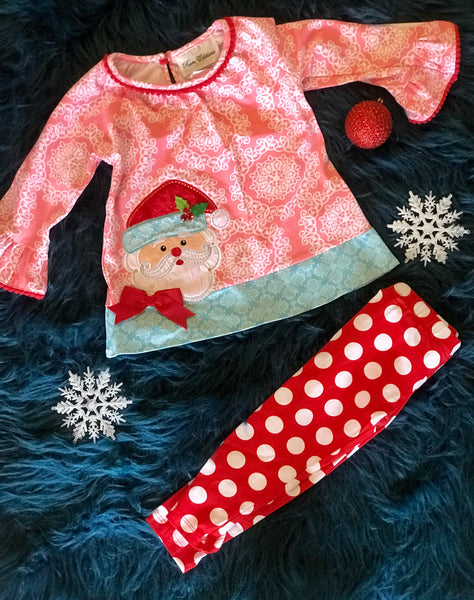 2018 Christmas In Pink Santa Set - JEN'S KIDS BOUTIQUE